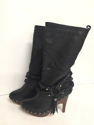 Dolce Vita Mid Calf Sexy Biker Black Leather High Heel Studded Boots 7.5 Sexy Mid Calf Boots