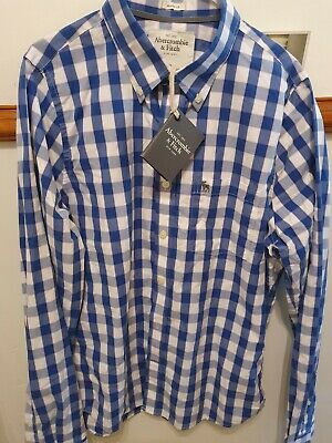Men's Abercrombie & Fitch Blue Block Check Casual Long Sleeve Shirt Size...