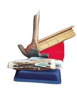 Robert Klaas Stag 1980 NKCA GUNSTOCK STOCKMAN KNIFE Whittler Knife no case