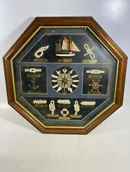 Nautical Themed Octagon Wall Clock Featuring Sailing Knots - WORKS!