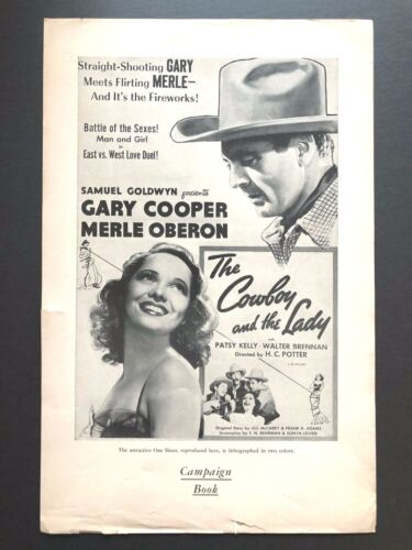 """The Cowboy and the Lady Pressbook (Cooper, 1938) - 4 Pages - 11"""" x 17""""  EX"""