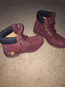 Burgundy Timberland boots size 8.5 men's