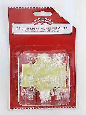 25 PC MINI LIGHT ADHESIVE CLIPS hold regular & led lights on flat clean surface (Mini Light Adhesive Clip)