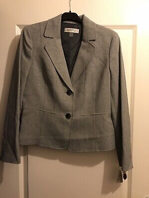 BNWT Kasper Grey/Black Womens Jacket UK Size 12 Suit Polyester