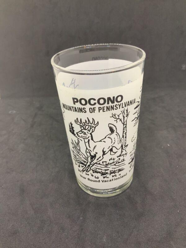Vintage Pocono Mountains Souvenir Bar Glass Winter spring summer fall