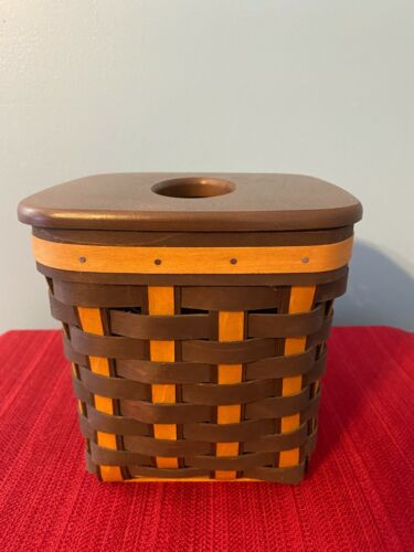 Longaberger Chocolate Tall Tissue Basket and Lid