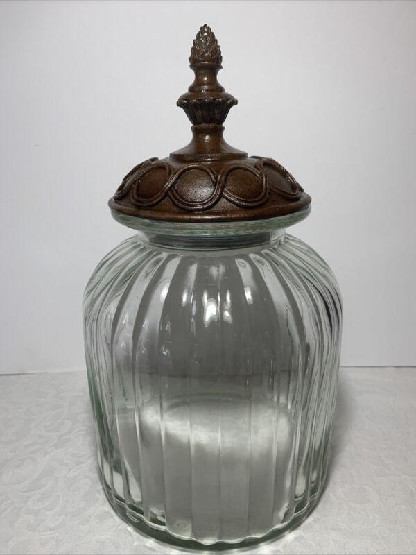 Vintage Ribbed Glass Biscuit Jar Bronze Acorn Decorative Lid 12x8