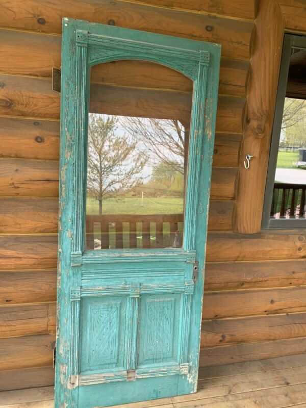 Antique Vintage Victorian Wood Entry Door with Glass