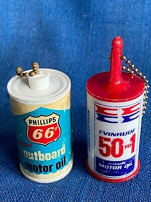2 Vintage Phillips 66 Outboard Evinrude 50 Motor Oil Can Key Chain Float Marine