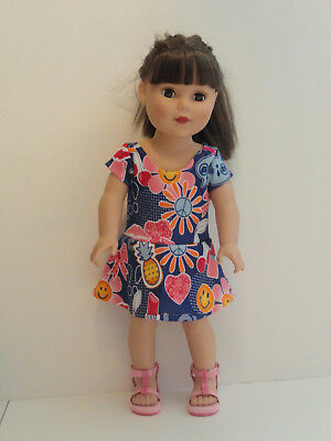 Hearts & Flowers/Navy Knit Dress for 18