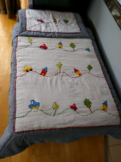 Cot blanket/doona/duvet and matching bumper baby boy.