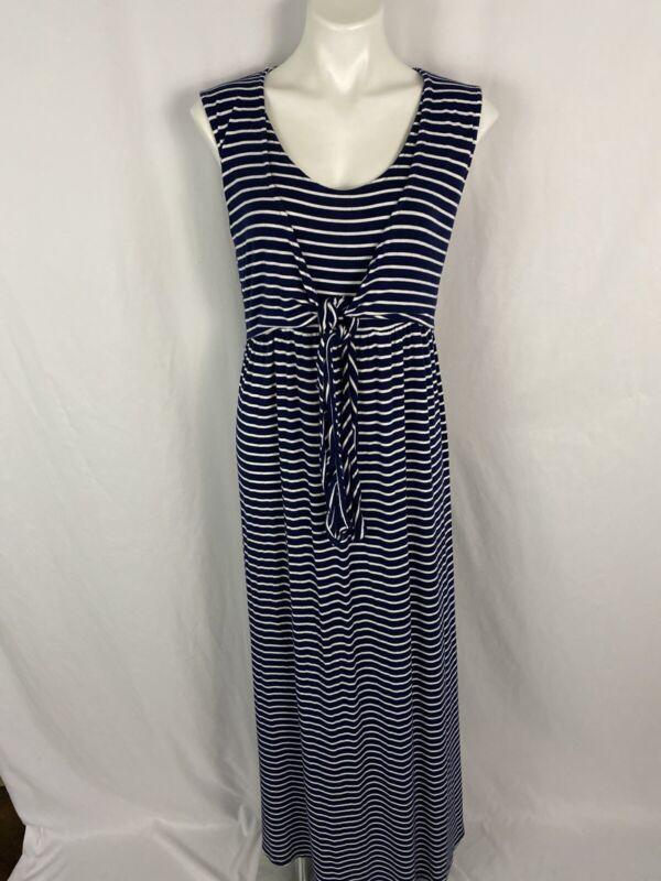 JoJo Maman Bebe  Maternity Nursing Navy/ White  Striped Maxi Dress M