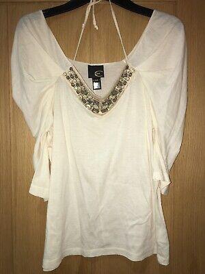 Just Cavalli women's V-neck embellished summer top cotton size 12 UK