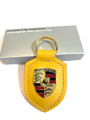 Porsche CREST YELLOW w/box Leather KeyFob Keyring Keychain Gold Ring New