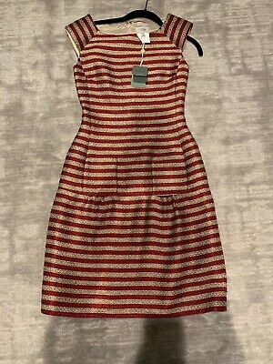 Hoss Intropia Red Gold Stripe Dress Size 36