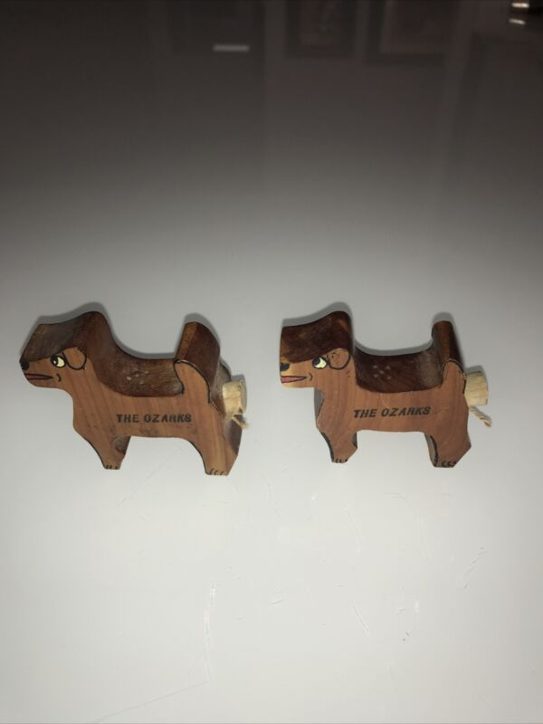 Wood Dogs The Ozarks Salt And Pepper Shakers Vintage