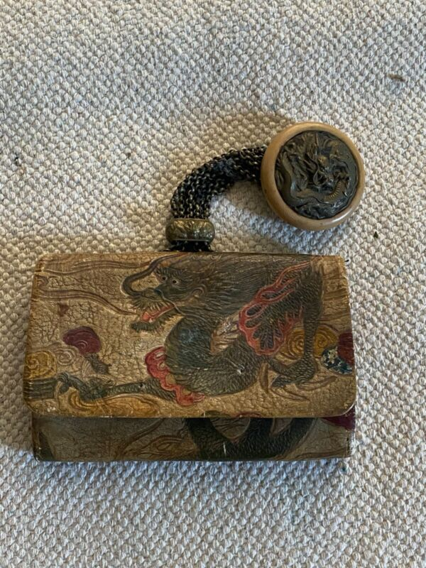 Japanese Meiji Tobacco Pouch With Netsuke Ojime dragons. Metal and leather