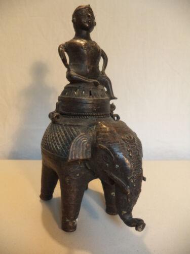 Antique HIndu Riding India Elephant Bronze Temple Altar Censer Statue Sculpture!