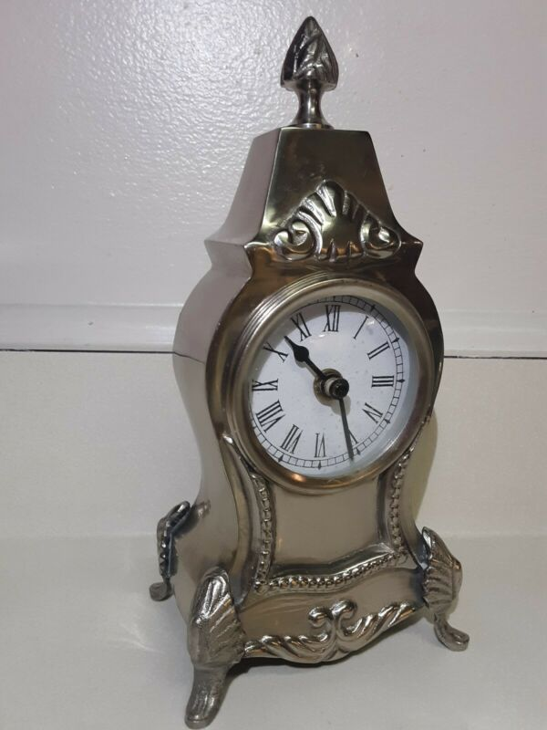 Vintage Metal Silver Look~ Heavy Shelf/ Mantle Clock~Beautiful Heavy Solid Clock
