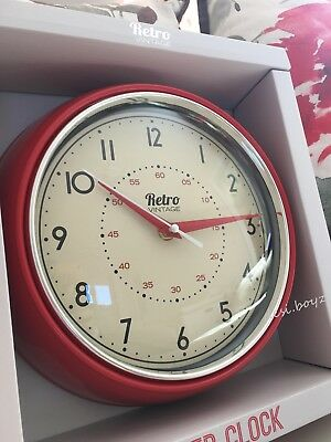Retro Vintage 50's Style Round Wall Clock Kitchen Diner Room Home Decoration Red - 50's Style Home Decor