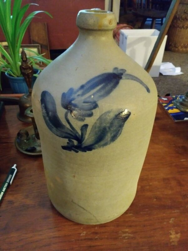 Blue Decorated Stoneware Jug w/ Floral Decoration ( As Is)