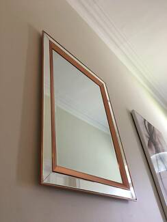 Superb Copper Gold / Gold Bevelled Mirror 1100 x 800 - NEW