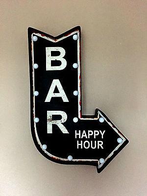LED BAR – Schild schwarz  62 cm  Wanddeko  Dekoschild Shabby Vintage Bar Kneipe