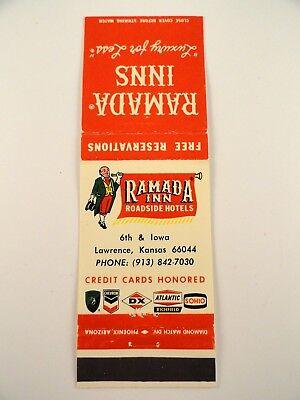 Matchbook Cover   Ramada Inn Roadside Hotels Lawrence  Ks Front Strike 20 Diamon