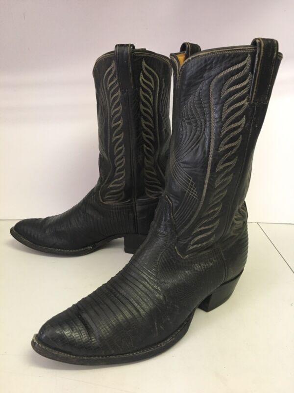VTG, Tony, Lama, Mens, Black, Leather, Teju, Lizard, Skin, Cowboy, Boots, Size, 10.5, D