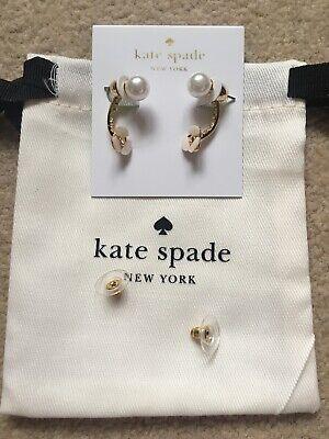 Kate Spade New York Disco Pansy Ear Jacket Gold Tone Pearl Long Earrings 2 In 1
