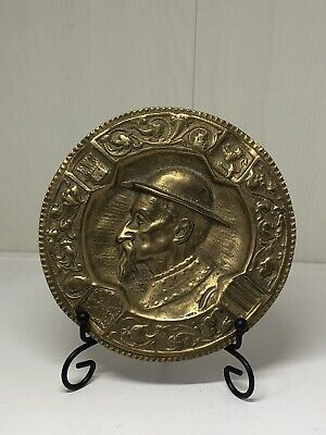 Antique Art Nouveau Brass Heavily Embossed Dish