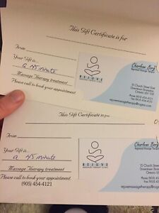 Two 45 minute RMT massage gift certificates at spa