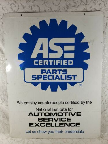 Vintage ASE Certified Sign - Parts Specialist - Metal Double Sided 32x24 Garage