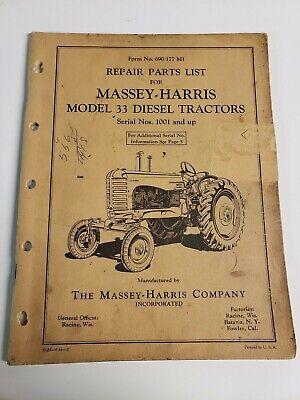 Massey Harris 33 Diesel Tractor Original Parts Manual Catalog Sn 1001 Up