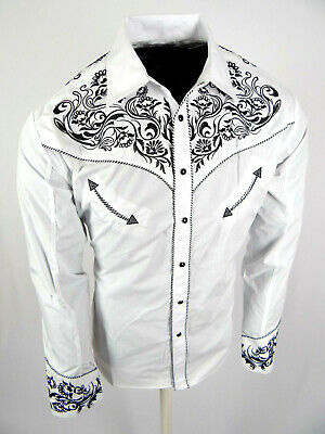 Mens Western Rodeo Cowboy Shirt White Black Embroidered Floral Shoulders Snap Up Embroidered Black Western Shirt