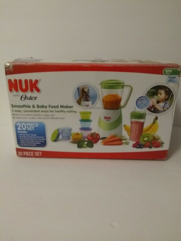 New Oster Nuk,Baby Food and Smoothie Maker 20-Piece Set. Blender,  storage.cup