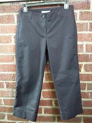 Ann Taylor Black Cotton-Blend Crop Pants Size 2