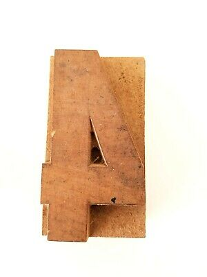 Letterpress Number 4 Wood Type Printers Block Typography