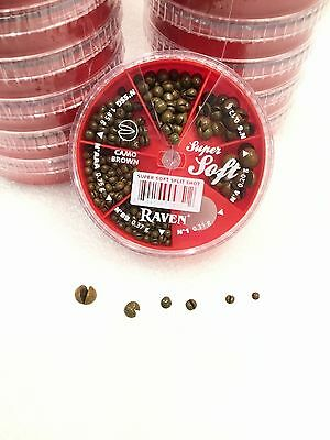 Raven Super Soft Camo Brown Lead Split Shot Dispenser Pack, 6 Sizes, One -