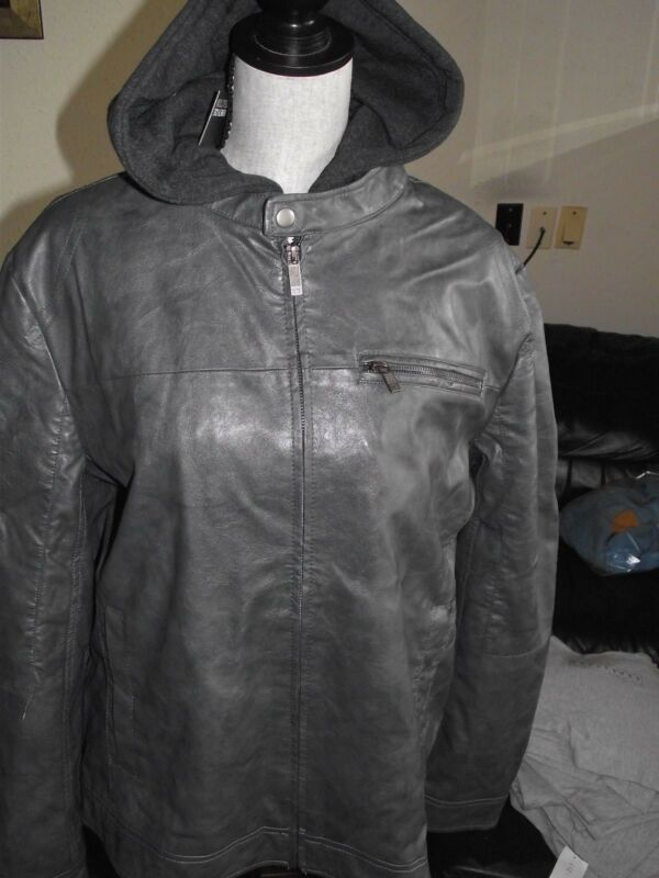 KENNETH COLE Faux Leather Gray Jacket Coat Detachable Hoodie XXL Free Shipping