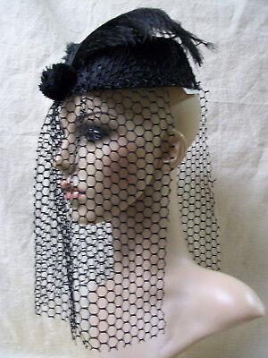 Black Pillbox Costume Hat Veil Vintage Style 60's Gothic Widow Bride Steampunk](60s Style Costumes)