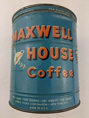 Vintage Maxwell House Coffee Tin Can 2 Pound Original Lid Empty