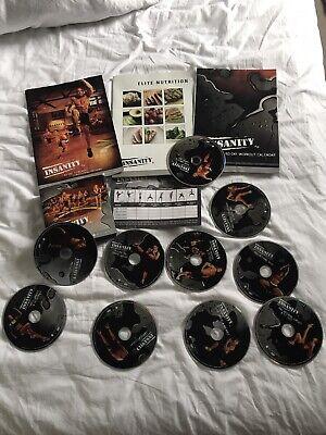 INSANITY WORKOUT BEACHBODY 10 DVD SET FITNESS ELITE BOOK BARGAIN FIT