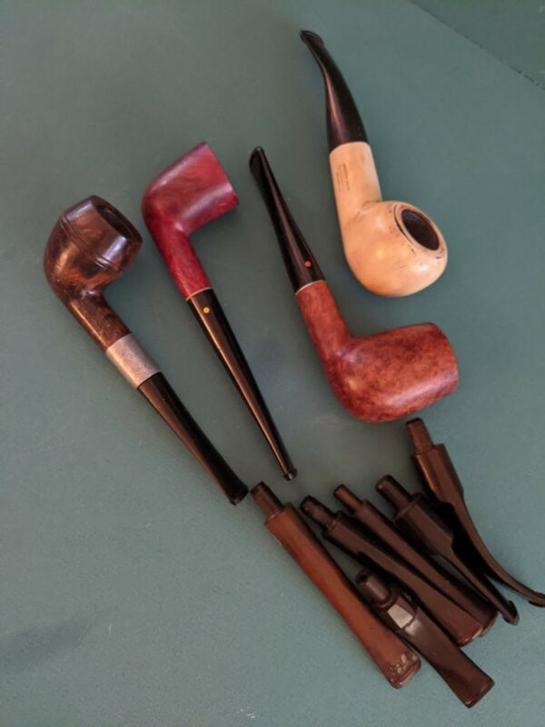 lot of 4 vintage pipes and 6 extra stems