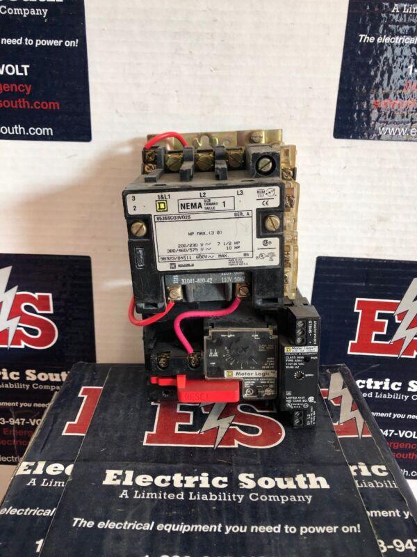 Square D Motor Starter 8536SC03V02S Size 1 120V Coil W/ Motor Logic Adj Overload