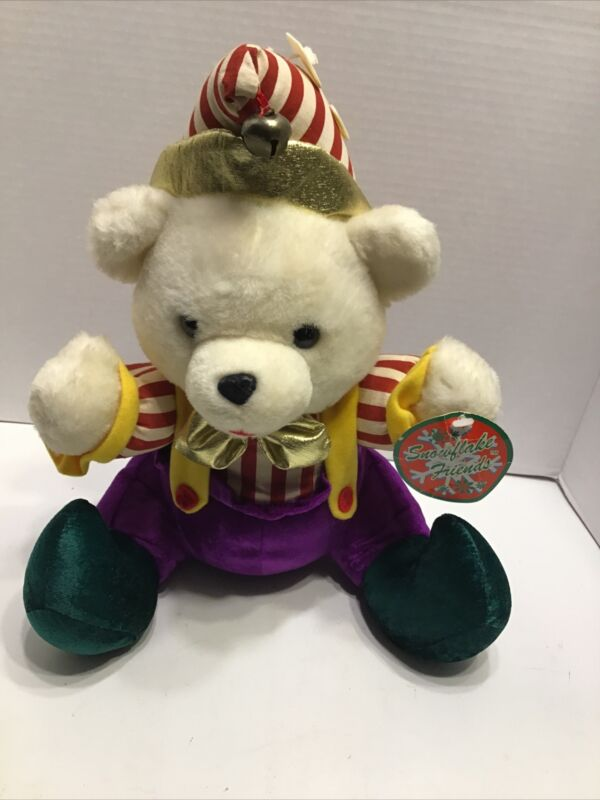 Snowflake Friends Elf Bear With Jingle Bell And Original Tag