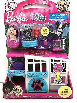 NIB Barbie Pets Dreamhouse Playset Boston Terrier Poodle Puppy Slide Pool Car