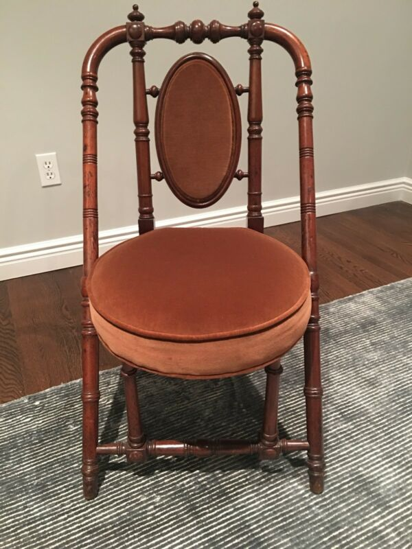 1869 Hunzinger Walnut Antique Side Chair Inscribed w/ Cameo Inset Back