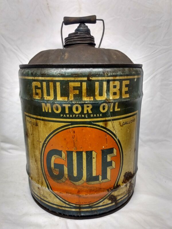 Rare Early Gulf Oil Gulflube Motor Oil 5 Gallon Oil Can Vintage Antique Gas Old