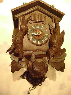 """Vintage German MUSICAL Cuckoo Clock Double Door PROJECT - 10.5""""X7.5""""X5.5""""- READ"""